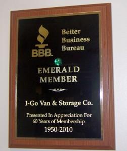 Better Business Bureau award 1950-2010